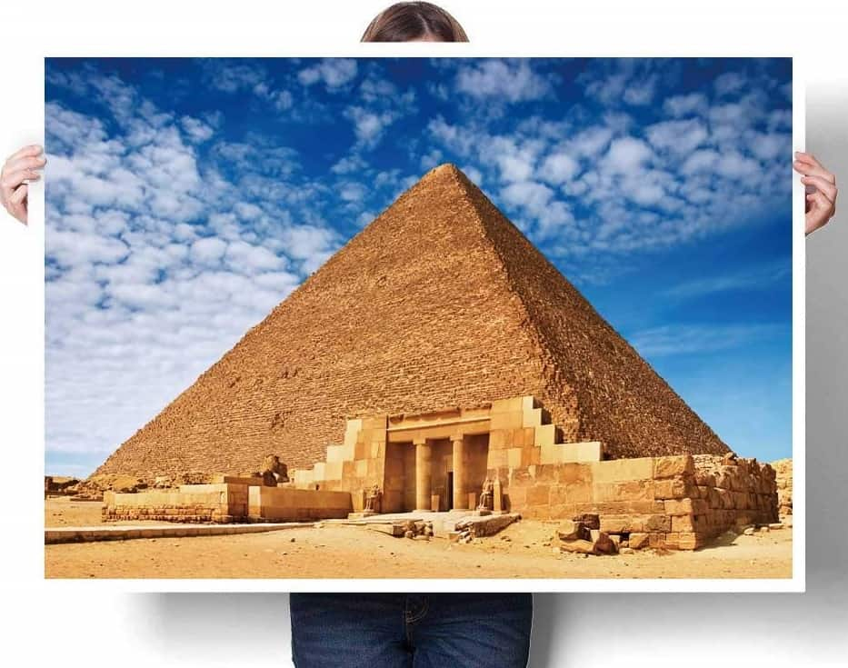 Ancient Egyptian Pyramid in Giza Against Blue Sky Wall Art by SCOCICI1588
