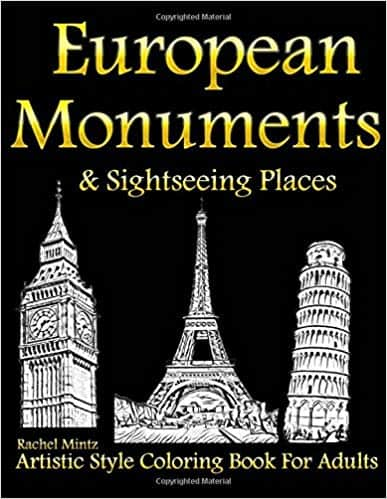 European Monuments & Sightseeing Places - Coloring Book For Adults