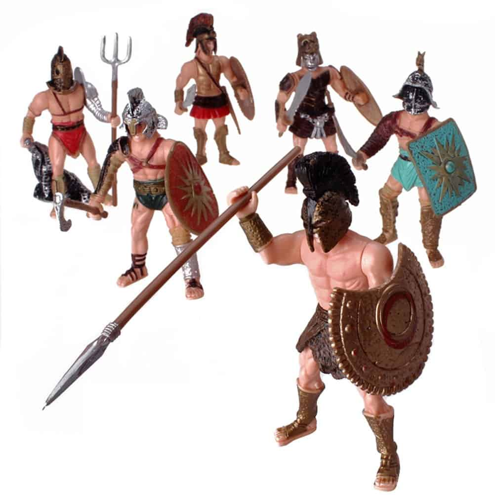 HAPTIME 6 Pcs Roman Gladiator Playsets Toy with Weapons and Shield