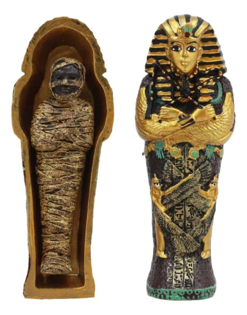 Ebros Egyptian King Tutankhamun Pharaoh Sarcophagus Coffin With Mummy Figurine