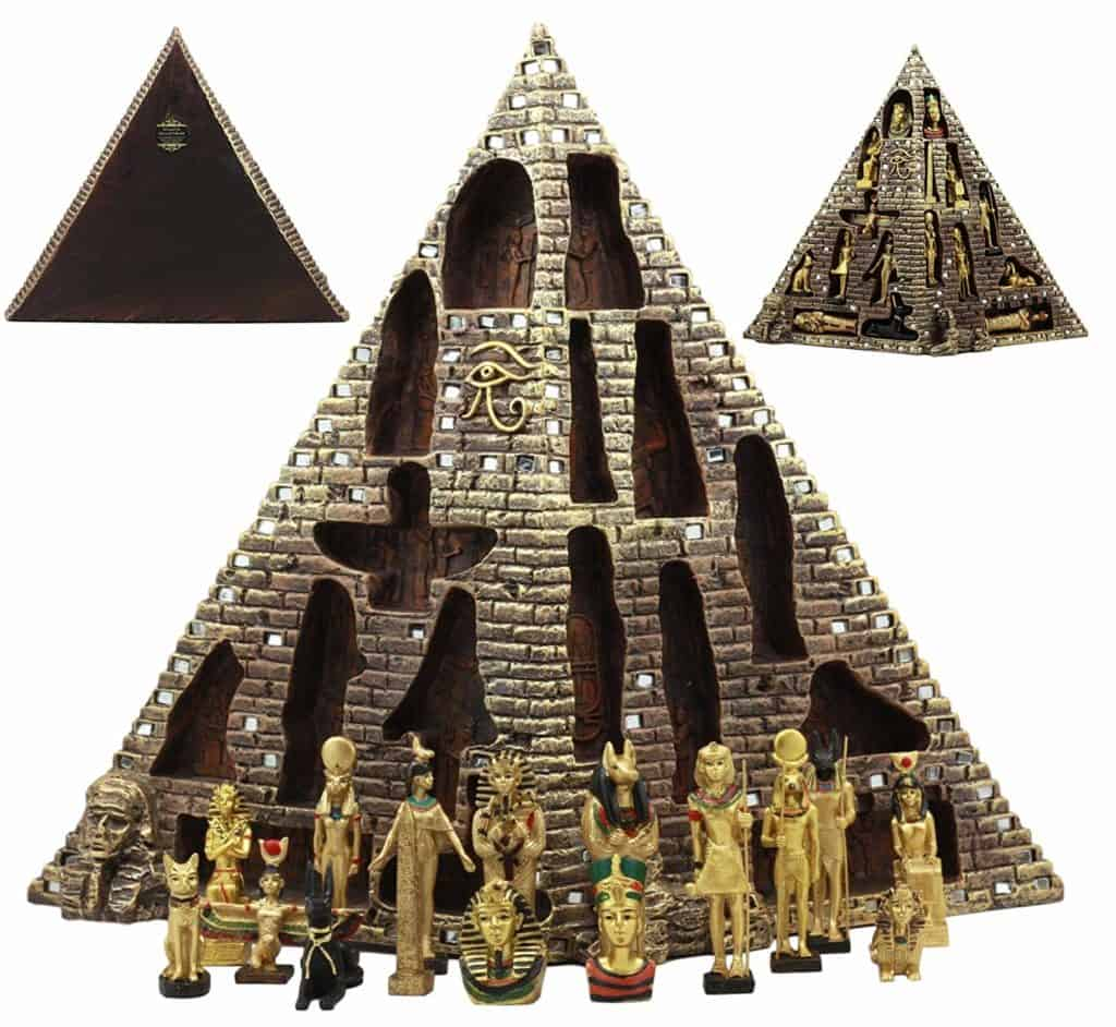 Egyptian Monument Pyramid Display Statue Featuring 16 Miniature Gods by Ebros Gift