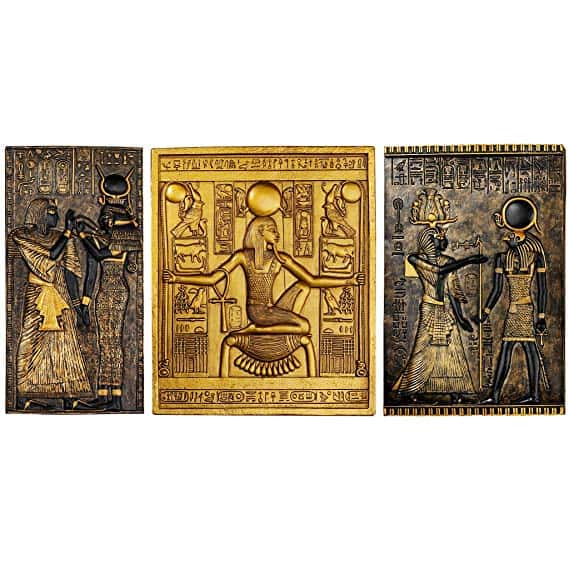 Design Toscano Egyptian Temple Steles Tutankhamen, Isis and Horus Wall Sculpture