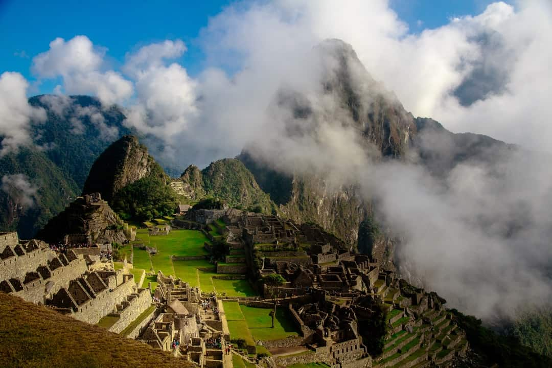Machu Picchu with smoke coming out of it