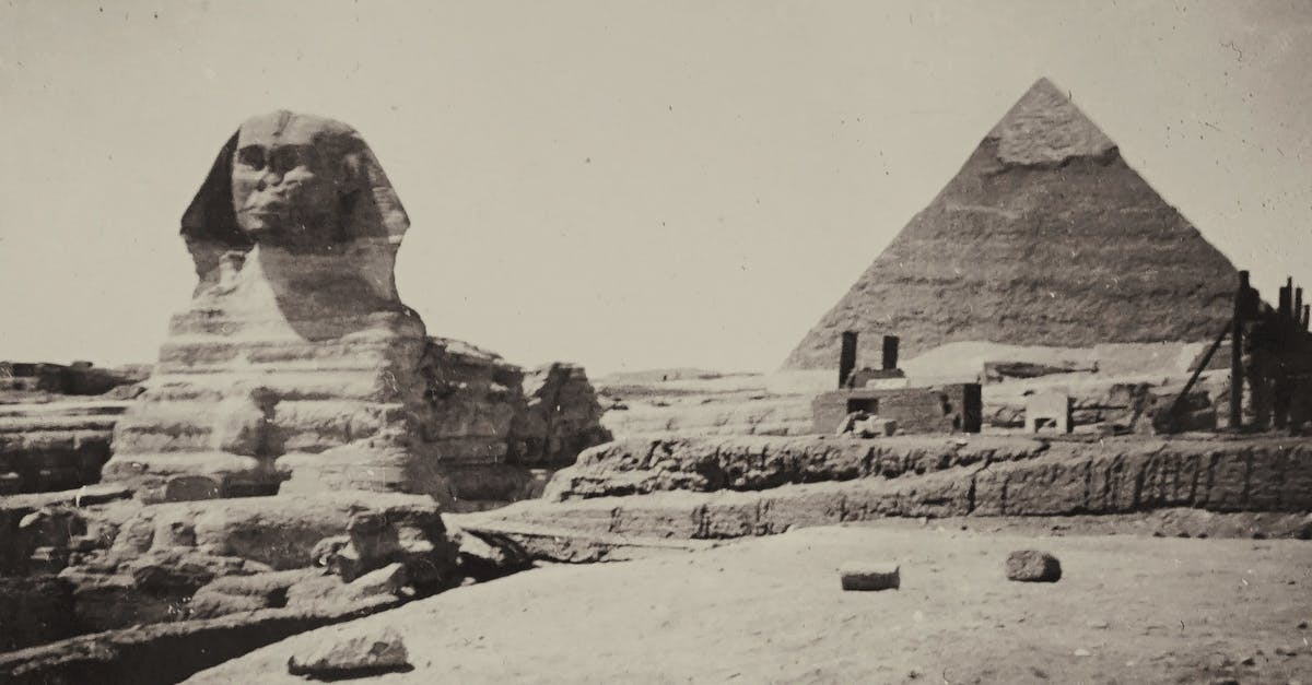 A group of people on a rock with Great Sphinx of Giza in the background